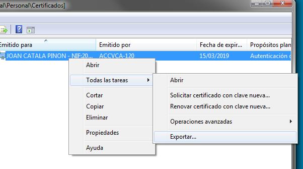 exportar clau privada certificat personal