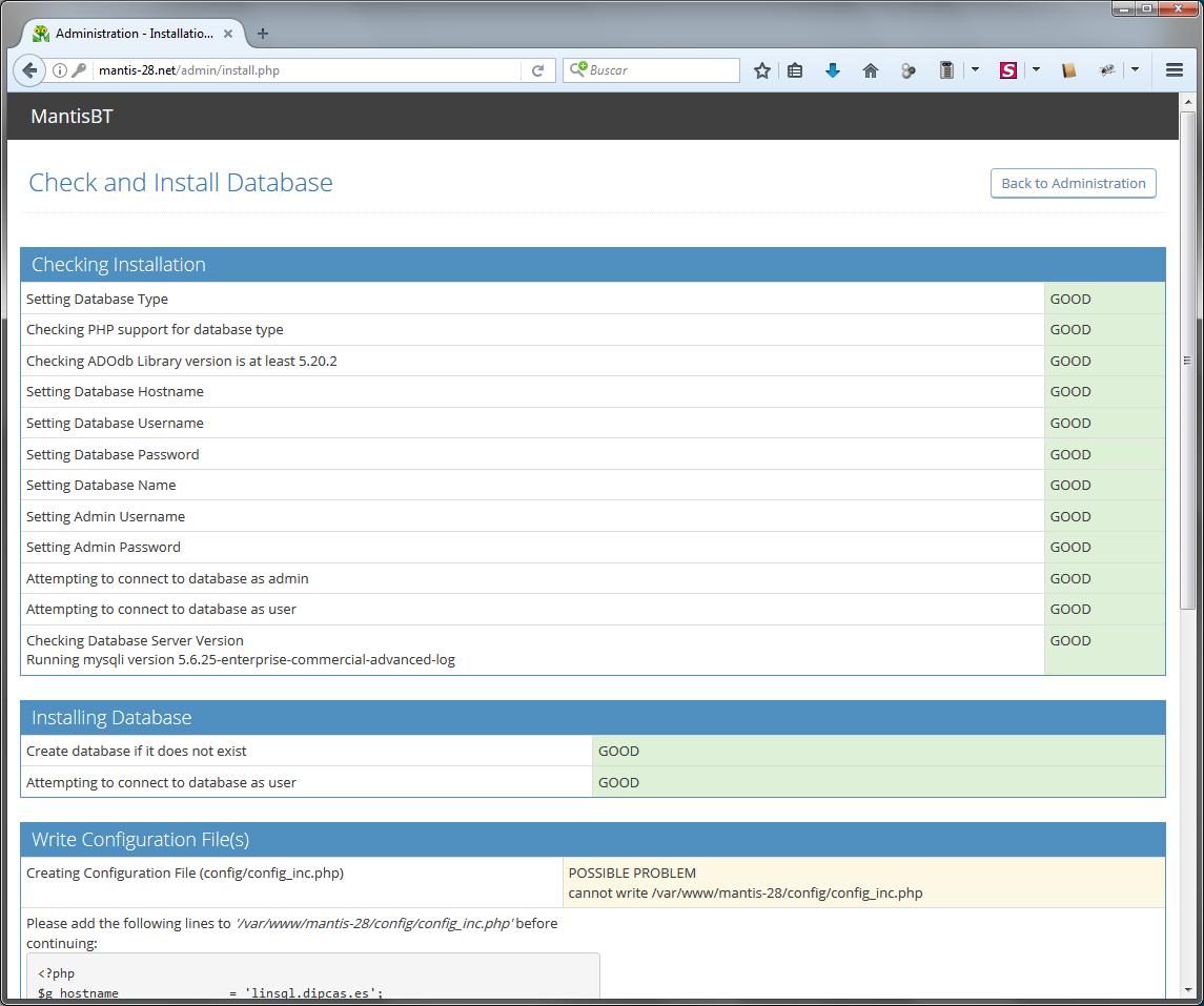 Instal·lació de MantisBT 2.8 en un bufit