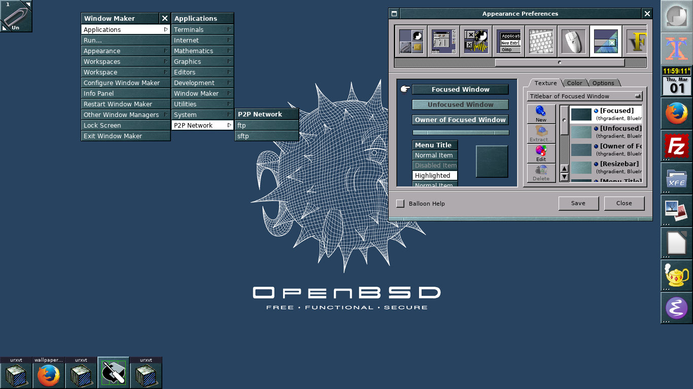 OpenBSD 6.2 Desktop Escriptori Applications Favourite Programes Favorits