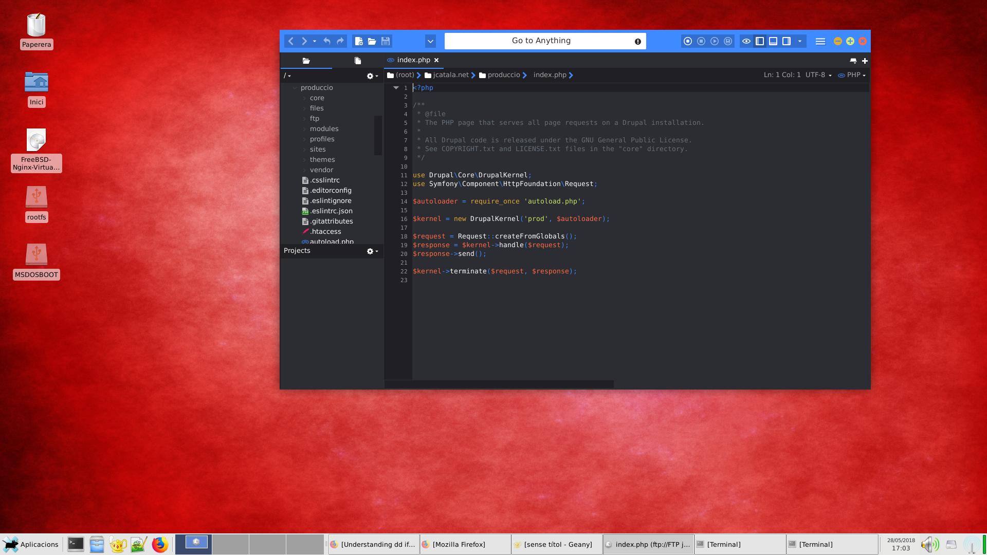 Editant fitxers locals i en remot amb Komodo Edit a FreeBSD 11.1-RELEASE