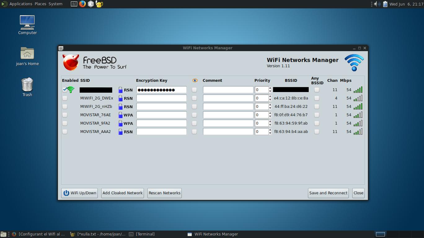 Configurant el Wifi al portàtil Lenovo Thinkpad x250 amb FreeBSD 11.1