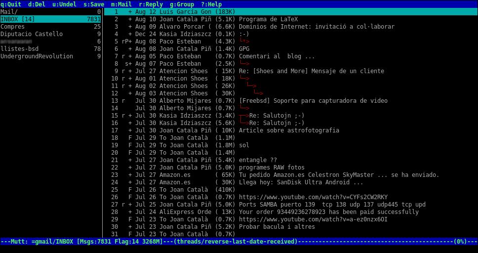 Mutt + GPG + procmail + fetchmail (amb diversos comptes POP3 SSL) + offlineImap (amb Gmail)