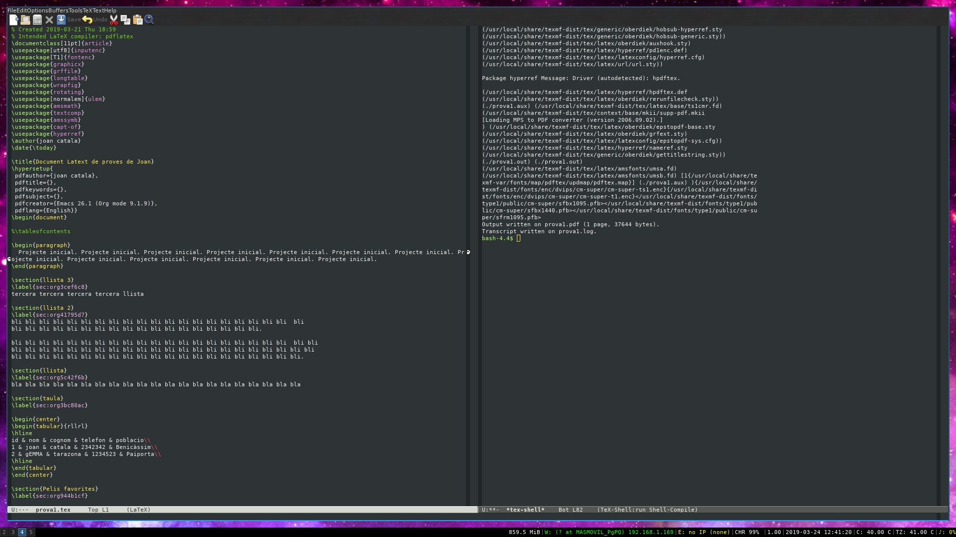Repassant programació literària amb l'eMacs generant LaTeX i org mode