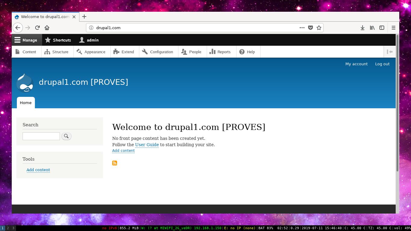 Instal·lant Drupal 8 a una màquina virtualitzada VMM OpenBSD 6.5