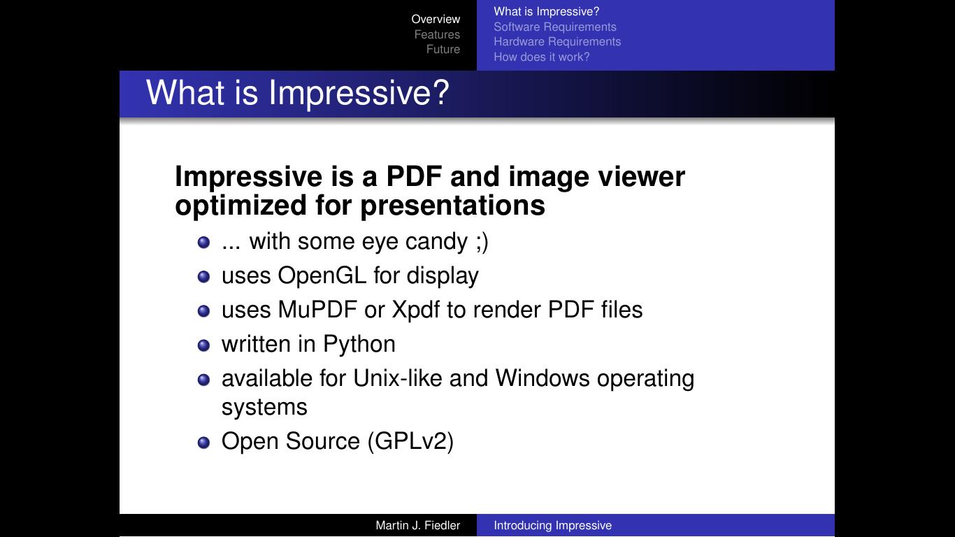 Impressive, programari per a crear presentacions elegants i modernes
