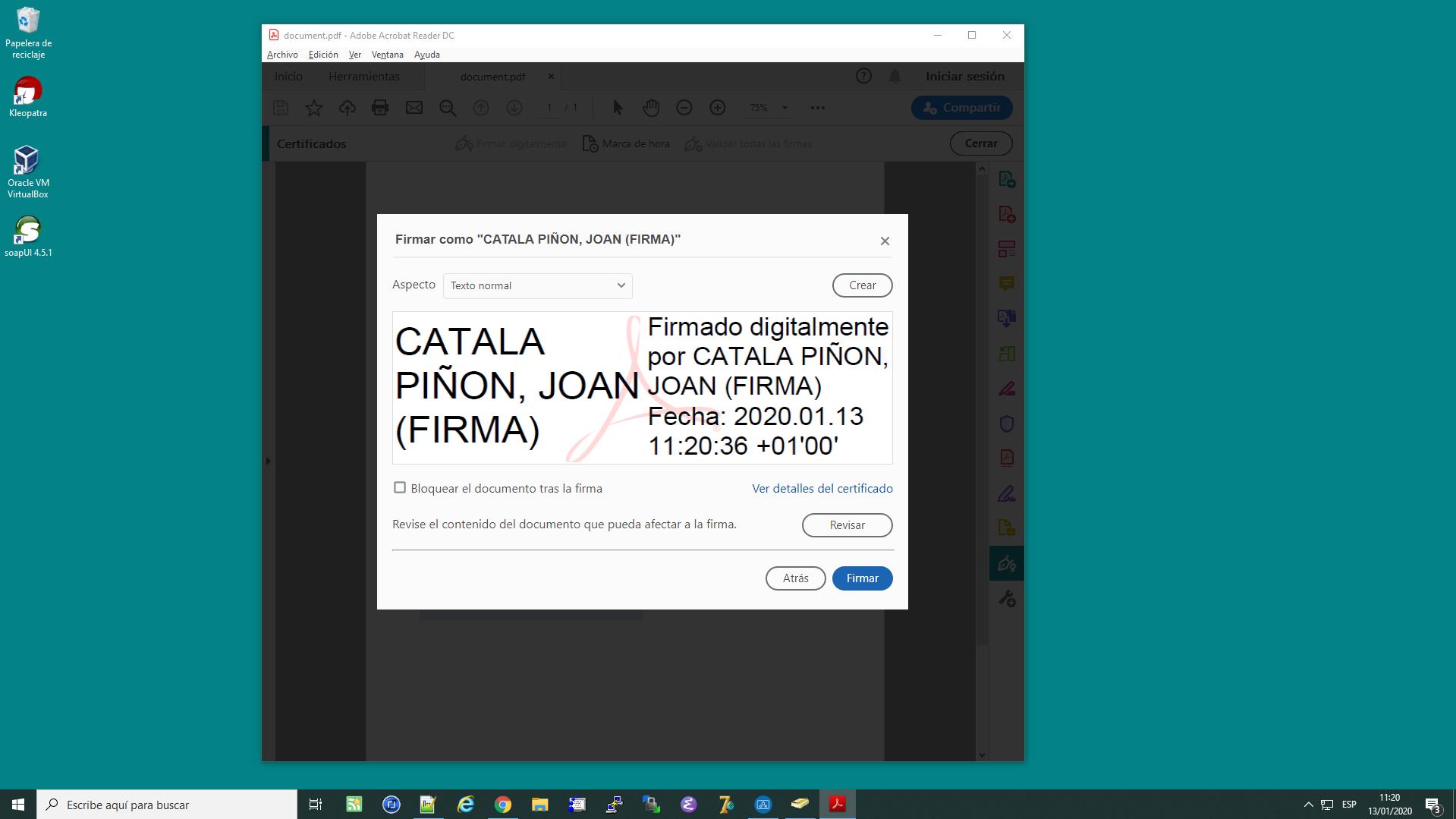 Firmar documents PDF amb DNI Electrònic des de l'Acrobat Reader DC