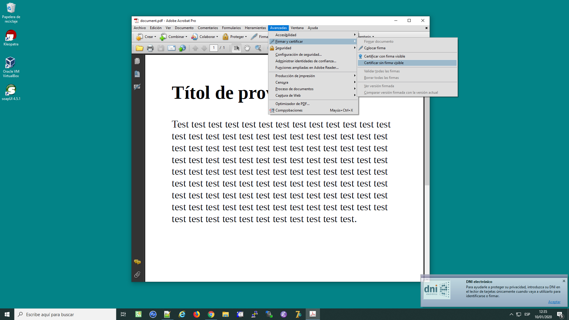 Firmar documents PDF amb DNI Electrònic des de l'Acrobat Reader Pro