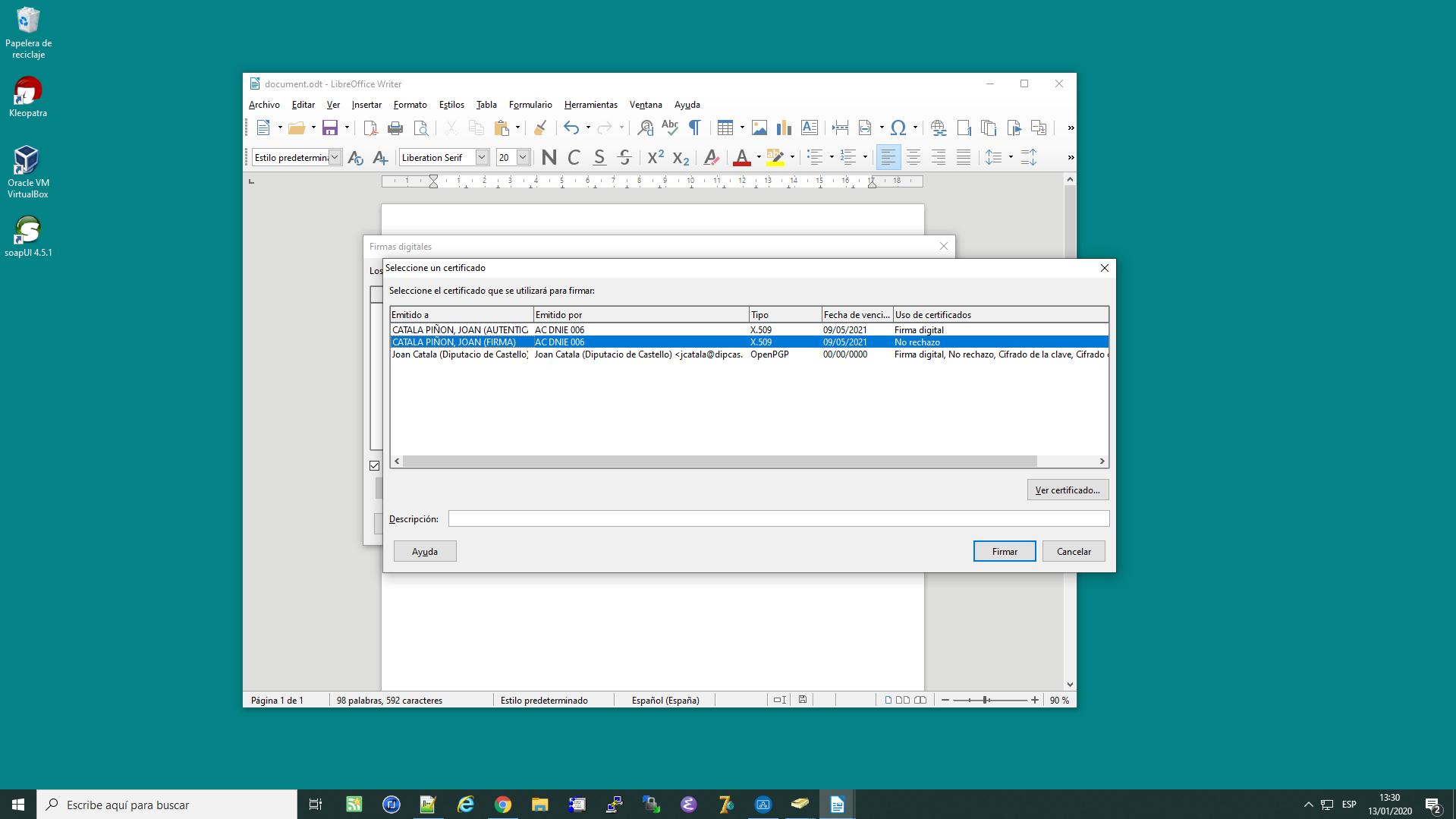 Firmar documents odt amb DNI Electrònic des del LibreOffice