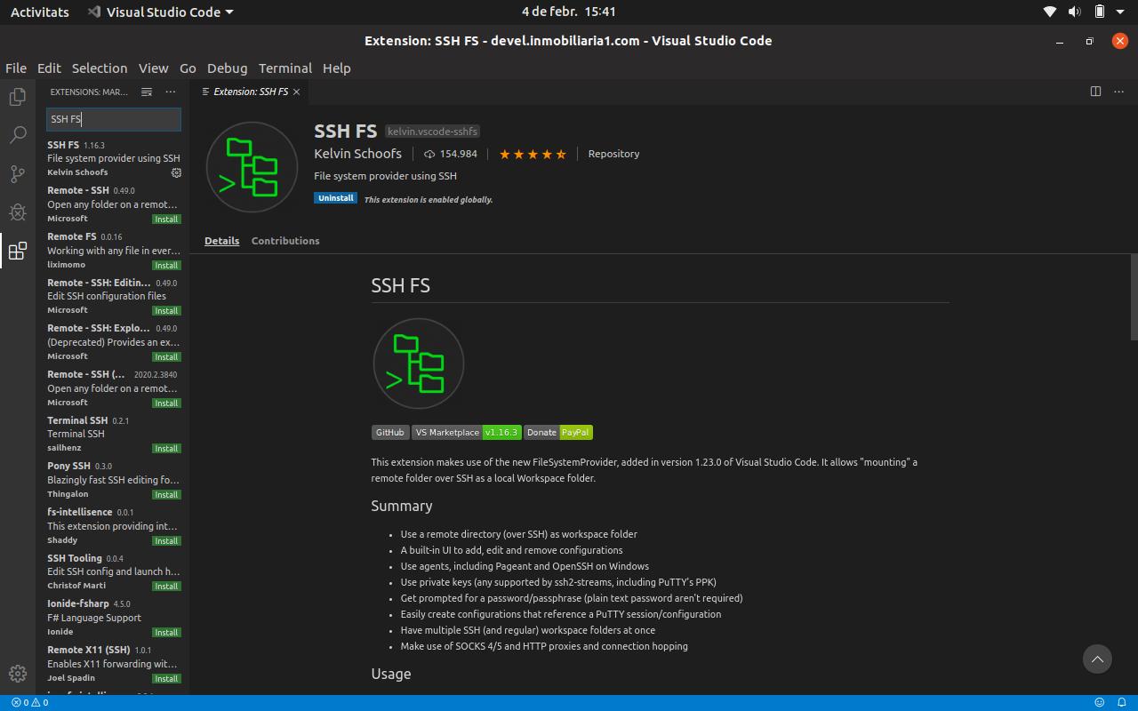 Treballant amb directoris i fitxers remots des de Visual Studio Code