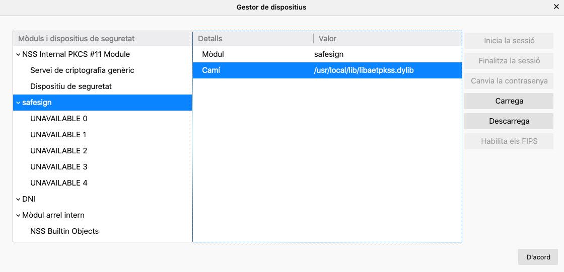 Configurant la tarjeta d'Empleat Públic de l'ACCV a MacOS X