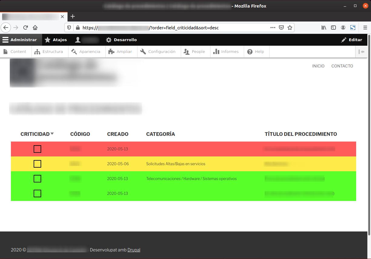Personalitzant la vista d'una taula a Drupal segons el valor que continga el seu camp