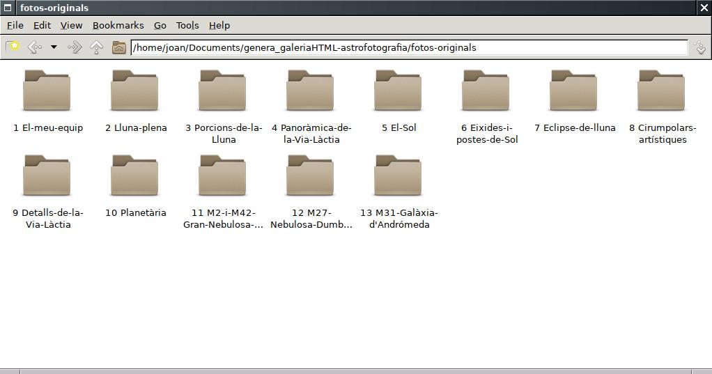 Pcmanfm a OpenBSD generant una galeria d'imatges amb genera_galeriaHTML