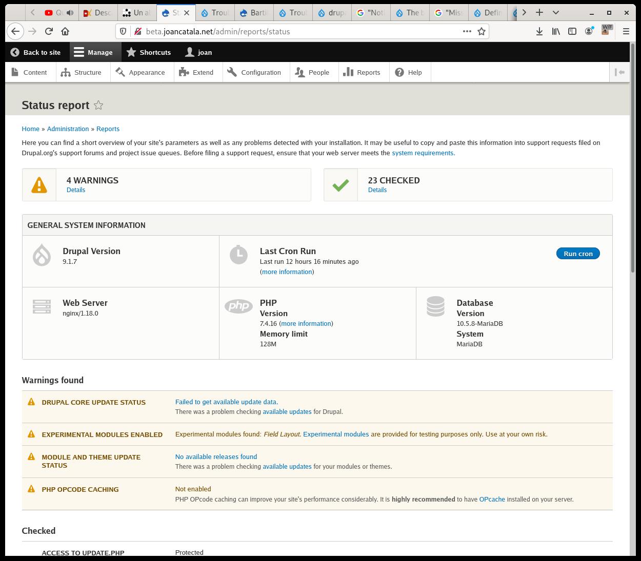 La meua web personal actualitzada a la última versió Drupal 9.1.7