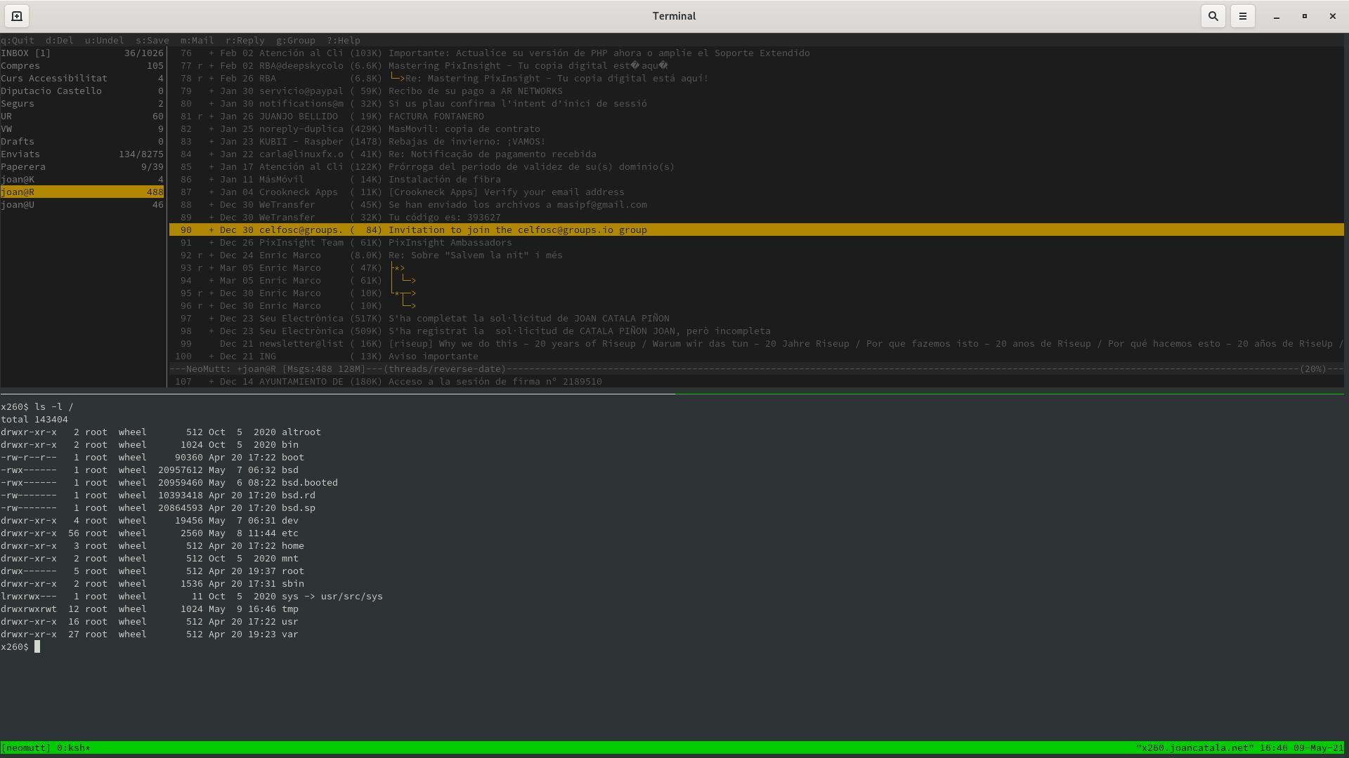 Activant els colors del client de correu Neomutt dins de tmux a la terminal